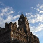 Blue sky over Edinburgh building