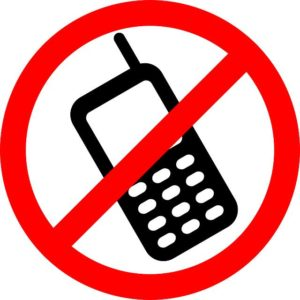 Warning sign - do not use mobile phones here